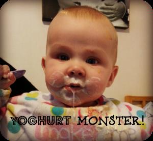 Baby eating yoghurt